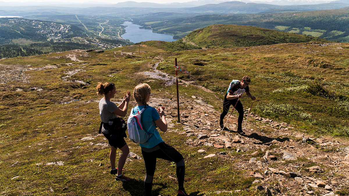 ÅEC-tävlingens fantastiska naturbana – längs stigar, över stock och sten, fjällutsikt.