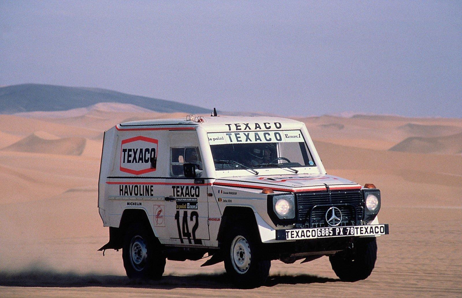 Jacky Ickx i Paris-Dakar rallyt i en G-Klass.