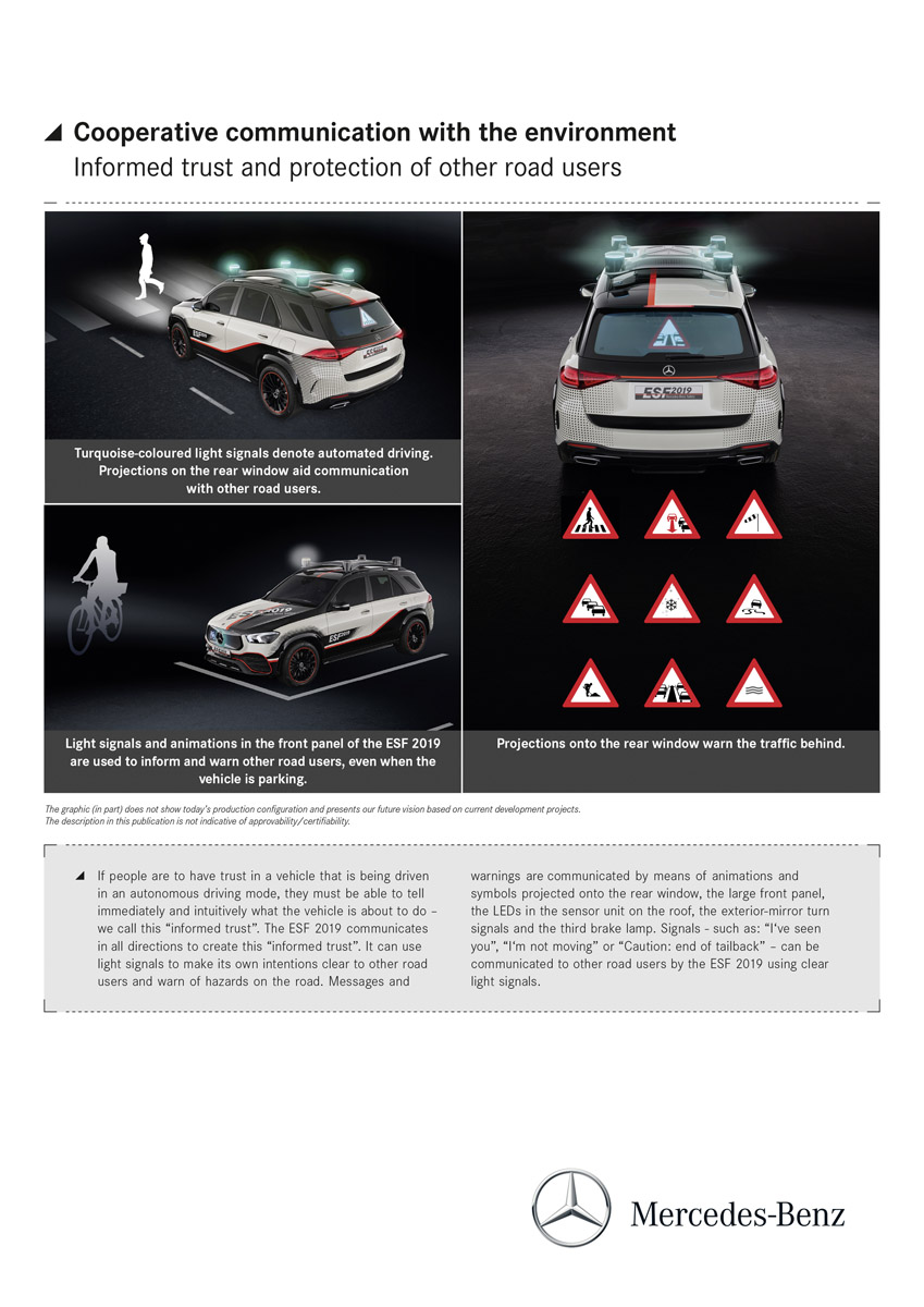"The Experimental Safety Vehicle (ESF) 2019 - Cooperative communication with the environment: The ESF 2019 uses light signals to communicate its intentions; it can also warn others of dangers it has detected. This helps to create ""informed trust"" between an automated vehicle and its surroundings. The Experimental Safety Vehicle (ESF) 2019 - Cooperative communication with the environment: The ESF 2019 uses light signals to communicate its intentions; it can also warn others of dangers it has detected. This helps to create ""informed trust"" between an automated vehicle and its surroundings."