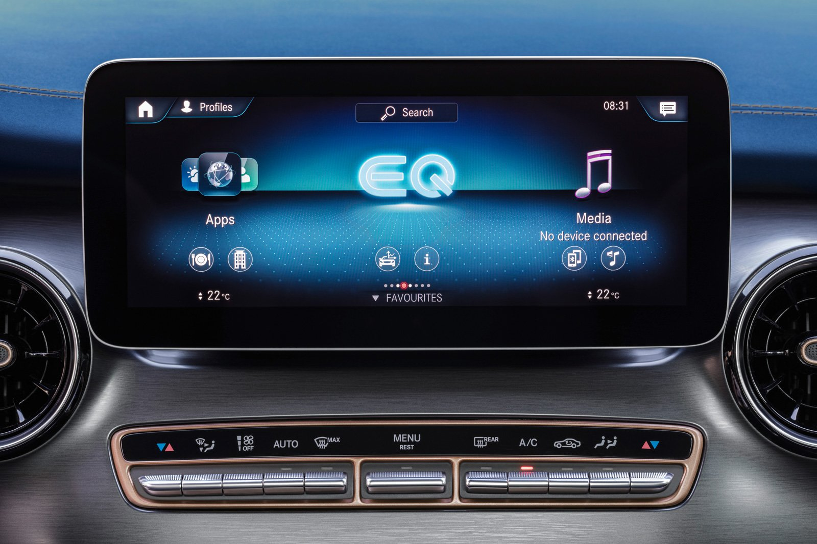 Mercedes-Benz EQV – Interior, intuitive Mercedes-Benz User Experience (MBUX) with 10-inch touch screen.
