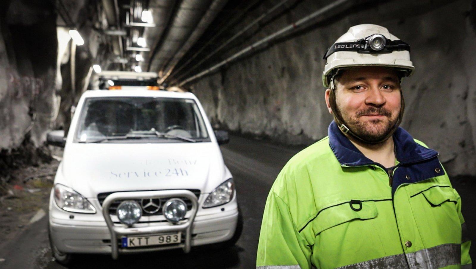 Fredrik Oskarsson är en av mekanikerna från Gällivare Truckservice som tillbringar mycket tid i gruvan
