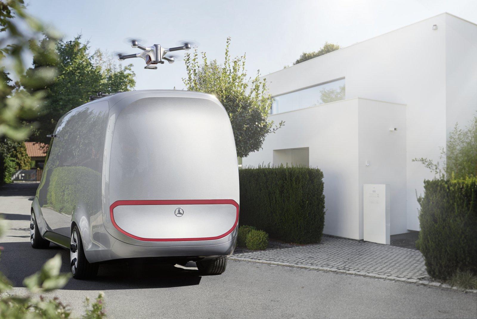 Mercedes-Benz Vision Van - Med drönare som kan utföra egna leveranser på korta avstånd.
