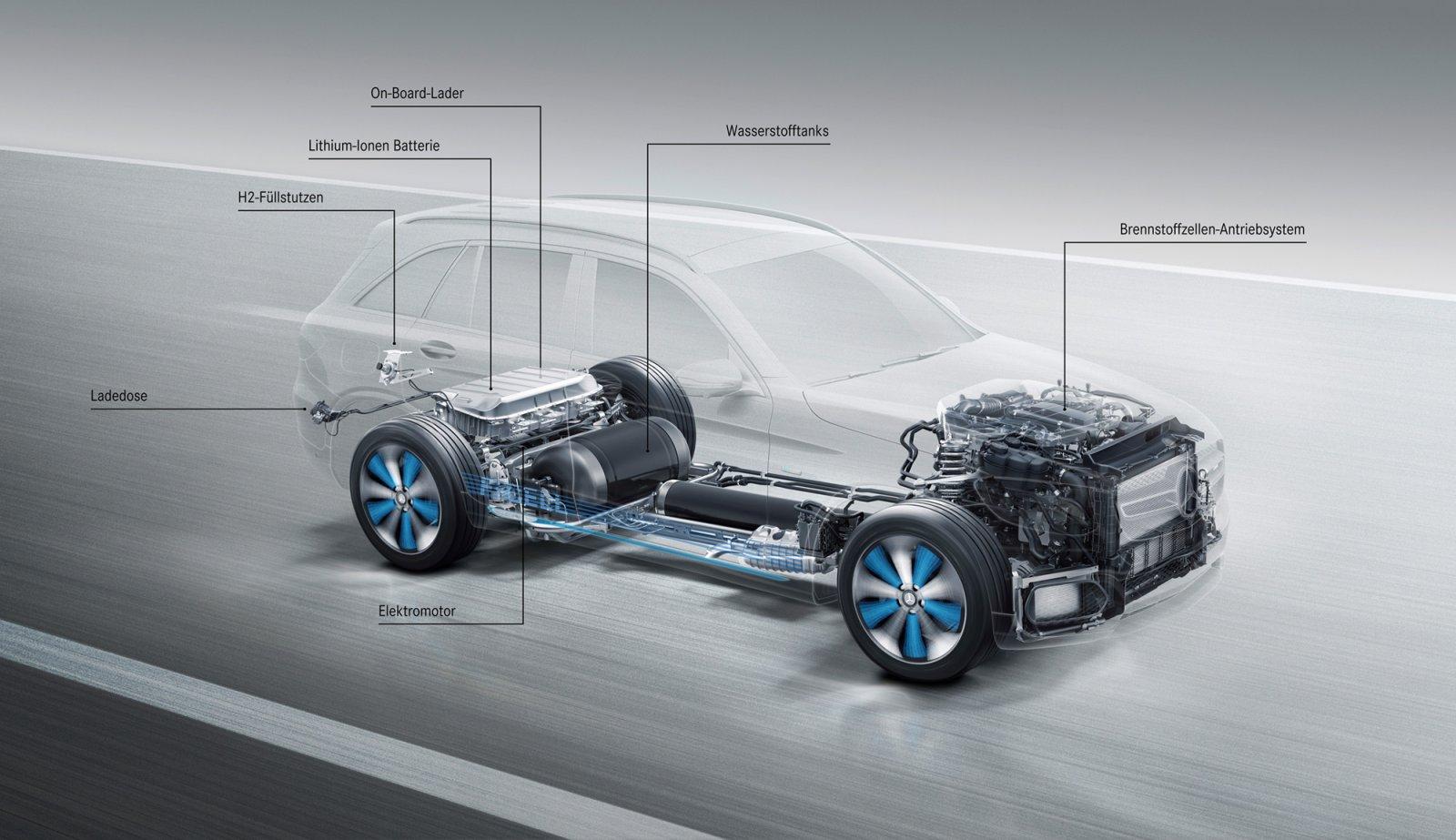Batterier sitter under lastutrymmet. Mercedes-Benz har även minskat på platina i bränslecellsmotorn med 90% vilket minskar både kostnader och miljöpåverkan.